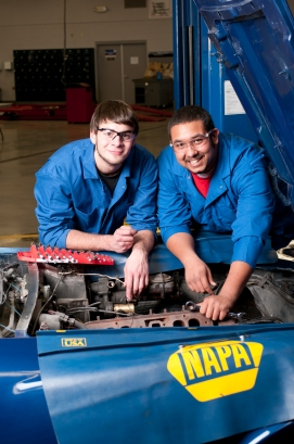 Idaho students training to become auto mechanics at the Dennis Professional Technical School in Boise, Idaho.