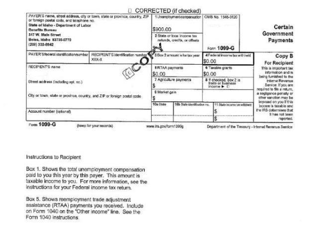 1099G tax form – Unemployment Tax Form